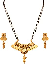 JFL - Traditional Ethnic Temple Goddess Laxmi One Gram Gold Plated Coin Mangalsutra With Black Beaded Double Chain...