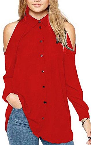 Gavemenget Sexy Lunga Manica Sciolto Chiffon Bluse Shirts Spalla Fredda Tunica Camicie di Colore Solido Casual Top Maglietta Sweatshirt Donne Rosso