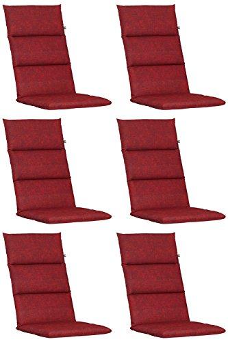 6 Hochlehner Auflagen Kettler Dessin 862 in rot 120 x 48 x 6 cm
