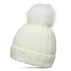 Idea Regalo - CASPAR MU190 Donna Berretto Invernale con Pon Pon, Colore:bianco sporco;Dimensioni:Taglia unica
