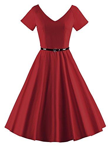 ILover Frauen 1950er V Ausschnitt Vintage Rockabilly Swing Abend Partei Kleid Wieinrot - 2