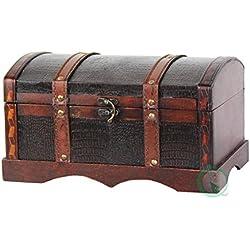 Vintiquewise - Cofre de madera y piel, diseño vintage, color marrón