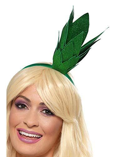 shoperama Haarreifen mit glitzerndem Ananas-Stängel grün Frucht süßes Früchtchen Obst Kostüm-Zubehör Damen Haarschmuck - Obst Kopfbedeckung Kostüm