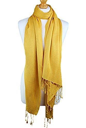World of Shawls - Pashmina Foulard Hijab Châle Etole Unie Haute Qualité 100% Viscose Deuxièmes Choix De L'Usine Dark Yellow