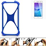 K-S-Trade Handyhülle für Huawei Y6 (2017) Single SIM Silikon Schutz Hülle Cover Case Bumper Silikoncase TPU Softcase Schutzhülle Smartphone Stoßschutz, blau (1x)