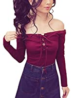 Blooming Jelly Women's Front Lace Up Off Shoulder Long Sleeve Tops