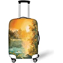 91f77ef84 Travel Luggage Cover Suitcase Protector,Country Decor,Paint of Spring  Landscape with Small Lake