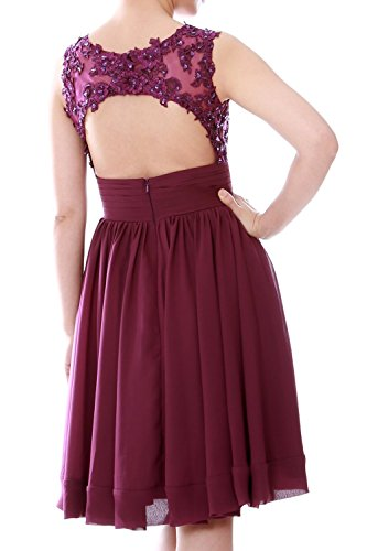 MACloth Women Beaded Lace Chiffon Short Prom Formal Dress Cocktail Party Gown Royal Blue