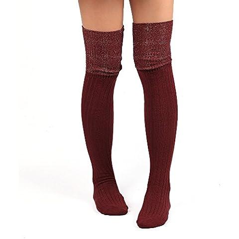 Ularma Color sólido caliente y largo sobre la rodilla alta algodón calcetines de las mujeres