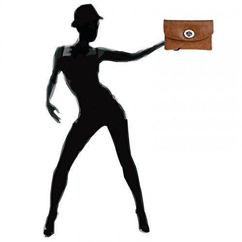 CASPAR TA339 Pochette da sera clutch da donna Marrone (Cognac)
