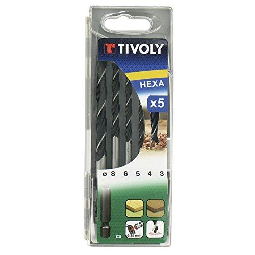 TIVOLY 10803770001 - Estuche C5 HEXA Broca MADERA 3 PUNTAS HEXA ø 3-4-5-6-8 mm