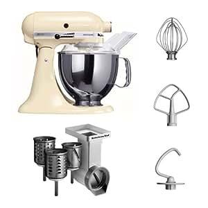 """Kitchenaid KSM150PSEAC + MVSA Kitchenaid 5KSM150PSEAC Küchenmaschine Serie """"Artisan"""" plus Zubehör mit 3 Trommeln, crème"""
