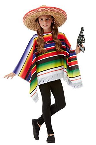 Mädchen Jungen Kinder Mexikanischer Bandit Poncho Kostüm Outfit ()