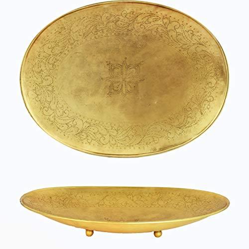 Orientalisches rundes Tablett Schale aus Metall Bombay 42cm groß Gold   Orient Dekoschale mit hoher Rand   Marokkanisches Serviertablett Rund   Orientalische Silberne Deko auf dem gedeckten Tisch