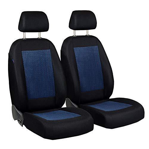 Zakschneider Matrix Vorne Sitzbezüge - für Fahrer und Beifahrer - Farbe Premium Schwarz-Blaue Velours - Matrix Toyota Auto Sitzbezüge