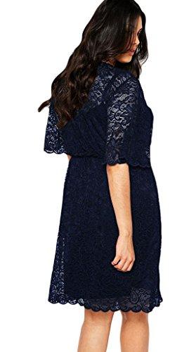 Eozy Femme Robe Court Manche Évasé Dentelle Grande Taille Robe Causal Bleu