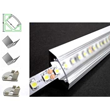 Pianeta-LED 6063 TL1919 Profilé en aluminium de 4mètres à angle de 45°, en 2barres, pour rubans à LED avec diffuseur transparent, embouts et fixations de montage inclus