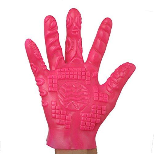 Tefamore Anal Erotik G-Punkt Handschuhe Tickler Klitoris Orgasmus Massager Fingerüberzieher Paare Vorspiel Stimulation Sexspielzeug für Frauen Männer (Rosa B)