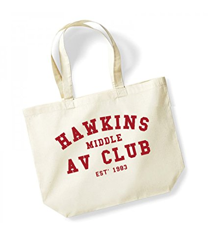 Hawkins Middle AV Club, Est' 1983 - Large Canvas Fun Slogan Tote Bag Natural/Red
