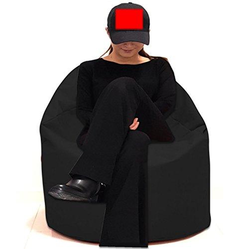 Sitzbag Sitzsack Größe S-M-L-XL-XXL-XXXL mit Styropor Füllung - In & Outdoor Größen - Bean Bag Sitzkissen Bodenkissen Hocker Kinder Sitzsäcke Möbel Kissen Sessel Sofa (XXL - ca.78cm, Schwarz)