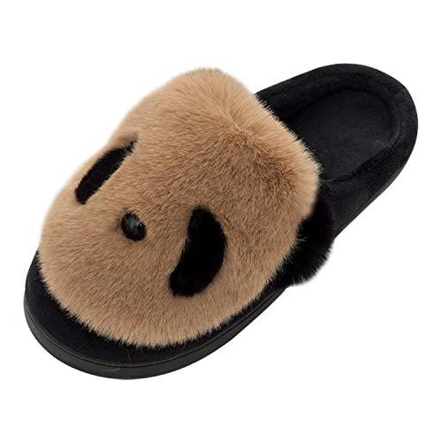Panda Zapatillas de Estar por Casa Mujer Invierno Zapatos 40/41 EU (Tamaño de Etiqueta 42/43) Café