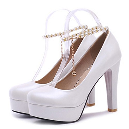Aisun Damen Süß Künstliche Perlen Metall Knöchelriemchen Trichterabsatz Pumps Blau 37 EU 8XsInik