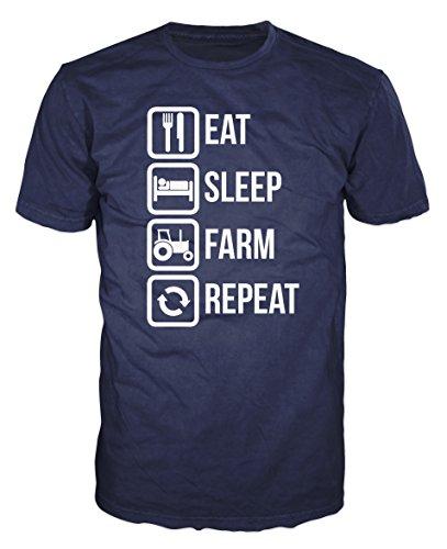 Eat Sleep Farm Repeat Funny T-shirt (XXL, Navy Blue)