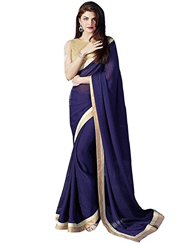 Arawins Party Wear Low Price Sale Offer Blue Georgette Saree with Banglori...