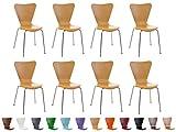 CLP Set 8x Sedie Impilabili CALISTO con Seduta in Legno e Telaio in Metallo | Sedia Conferenza Salvaspazio, Facile da Pulire | Sedia Classica Riunioni | Alt. Seduta 45 cm natura