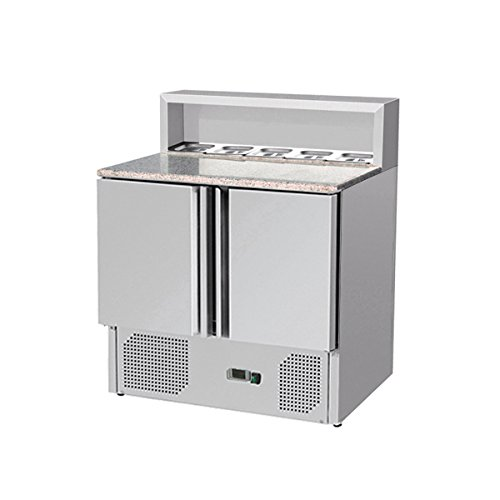 Zorro - Pizzatisch ZTHPS900 - 2 Türen - Kühltisch mit Granitplatte - Salatkühlung - Gastro Belegstation