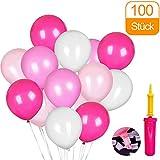 CalMyotis 100 Luftballons und Ballonpumpe und Ballon-Klipp für Partys, Geburtstagsfeiern und Hochzeiten (Rosa Serie)