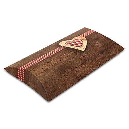 10er Pack Kissenverpackung Geschenkbox Geschenkschachtel braun mit Herz, ca. 21,5x11,5x3 cm,...