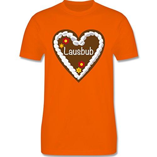 Oktoberfest Herren - Lebkuchenherz Lausbub - Herren Premium T-Shirt Orange