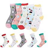 XuxMim 5 Paar Frauen Mädchen Print Cartoon Schafe Uniform Animal Mid Tube Nette Socken
