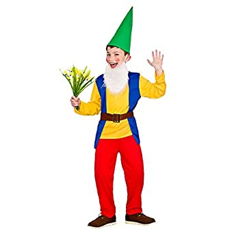 Boys Funny Garden Gnome Costume for Garden Elf Dwarf Orc Goblin Fancy Dress (S) Small 3-4yrs 110-122cm Chest 61cm Waist 57cm