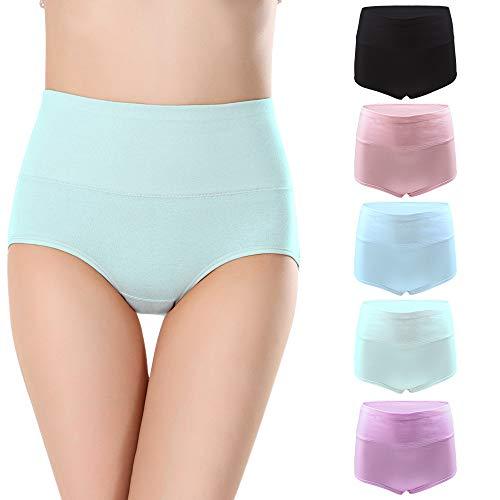 BOZEVON Damen Unterwäsche Baumwolle Slips - Baumwolle Unterhosen Hohe Taille Auslaufsichere Schutzhosen Menstruation Slips Unterhose Volle Baumwolle Einfarbig Höschen Multi Pack -