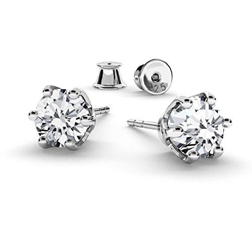 Crystals&stones orecchini in argento sterling 925 e zirconi di 6 mm swarovski elements, con una meravigliosa confezione regalo,pin/75