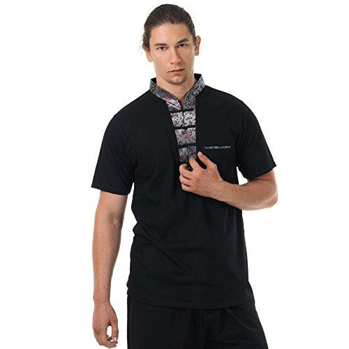 Herren Seide Lager T-shirt (Kung-Fu,Tai-Chi & Meditations T-Shirt Baumwolle & Seide Größe L Schwarz)