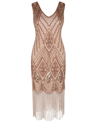 PrettyGuide Damen 1920er Gatsby Art Deco Pailletten Cocktail Charleston Kleid M Rosé Gold (Kleid Rose)