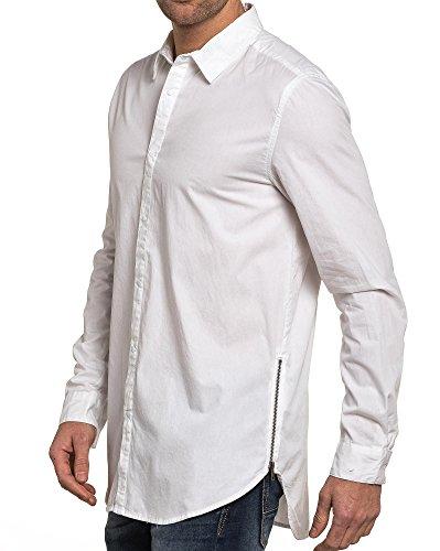 BLZ jeans - weißes Hemd Mann Reißverschluss Übergröße Weiß