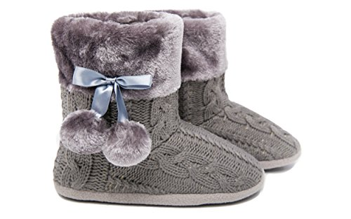 Damen Mädchen Pantoffeln Hausschuhe Schuhe mit weichen Poms Grau