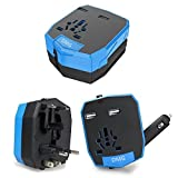 DMG Universal World Travel Charger All-in-one UK/EU/US/AUS Plugs Safety World Travel Adapter Dual USB Ports World Travel Charger (Dual USB + Universal