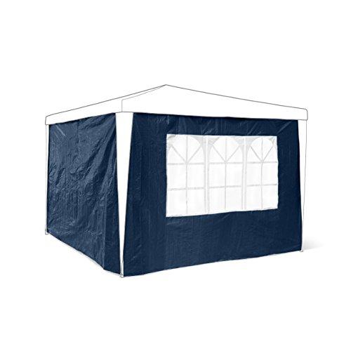 Relaxdays 10020081_45 Panneau latéral pour pavillon tonnelle de jardin tente réception de 3 x 3 m parois fenêtres protection pluie vent soleil, bleu lot de 2