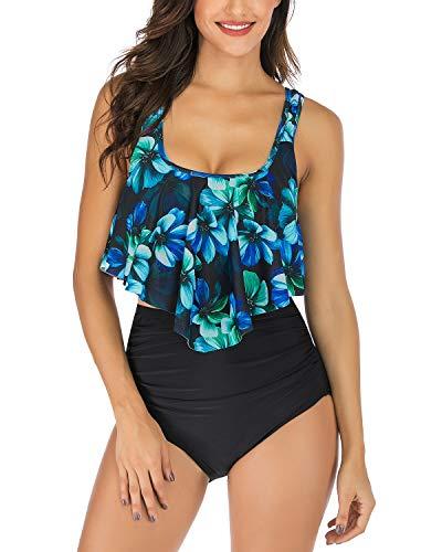 WateLves Damen Druckt Bikini Zweiteilige Floral Retro High Waist Bikini Set Rüschen Backless Top Taille Falten Bademode Bedeckte Bauch(Blaue Blume, S) -