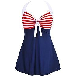 Bdawin Traje de Baño de Una Pieza Vintage Pin Up Marinero Bañador Para Mujer,8994 RedStr L