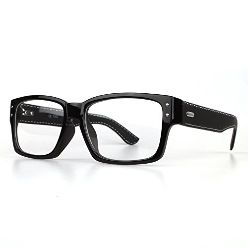 Distressed - Modebrille ohne Stärke mit Leder Bügeln schwarz