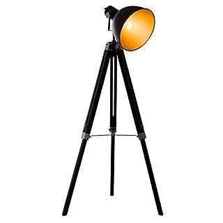 HOMCOM Stehleuchte Stehlampe Standlampe höhenverstellbar H152cm E27 Kiefer Gold L65xB65xH152cm