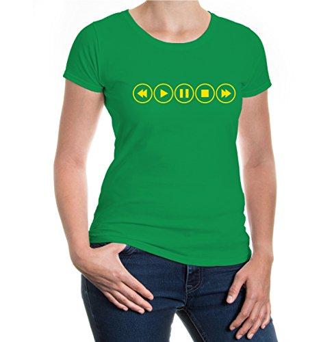 buXsbaum® Girlie T-Shirt Musik Steuerelemente Kellygreen-Sunflower