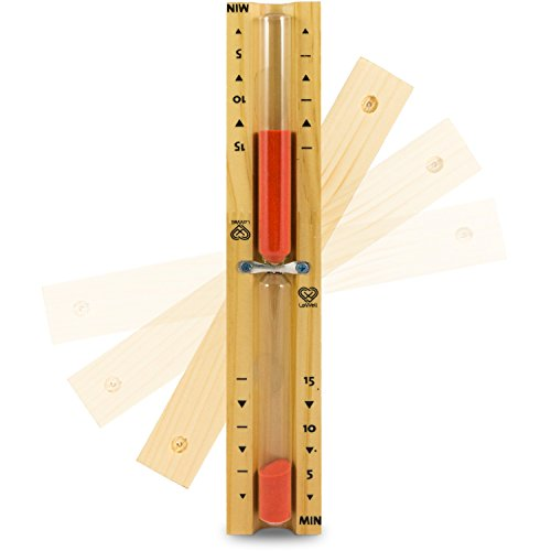 Lowell ❤ - Saunauhr - Sauna Sanduhr aus natürlichem Kiefernholz - roter Sand - hitzebeständiges Glas - Sand-Timer, Zeitmesser, Stoppuhr - hochwertiger Sand - Farbe Rot - 15min
