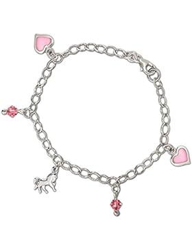 CLEVER SCHMUCK Silbernes exklusives Kinderarmband 16 cm mit Einhänger Pferd, Herz rosa lackiert und rosafarbigen...